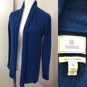 Susina Cashmere Cardigan Sweater Blue Teal Sz M